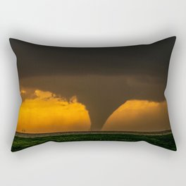 Silhouette - Large Tornado at Sunset in Kansas Rectangular Pillow