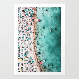 Aerial Beach Print, Large Printable Ocean Waves Wall Art, Teal Coastal Decor, Beach With People Art Print