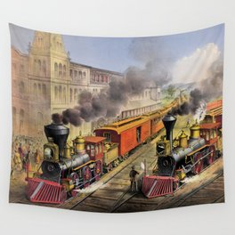 American Railroad Scene (Currier & Ives) Wall Tapestry