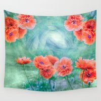 poppies Wall Tapestries featuring Poppies by LudaNayvelt
