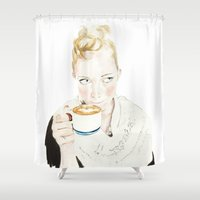 coffe Shower Curtains featuring Girl with coffe by Erica Salcedo Drawings