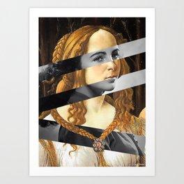 "Sandro Bottiecelli's Venus from ""Venus and Mars"" & Liz Taylor Art Print"