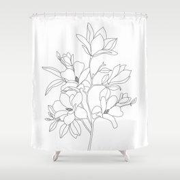 Minimal Line Art Magnolia Flowers Shower Curtain