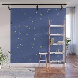 Gold Stars on Blue Night Sky Pattern Wall Mural