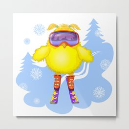 The young hen had learned to ski. Metal Print