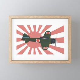 Japanese WWII Zero Fighter Plane Framed Mini Art Print
