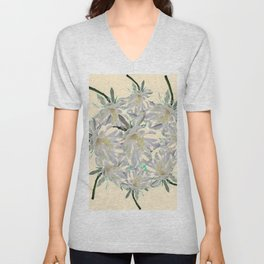 WHITE  NIGHT BLOOMING TROPICAL CEREUS  ON CREAM ART Unisex V-Neck