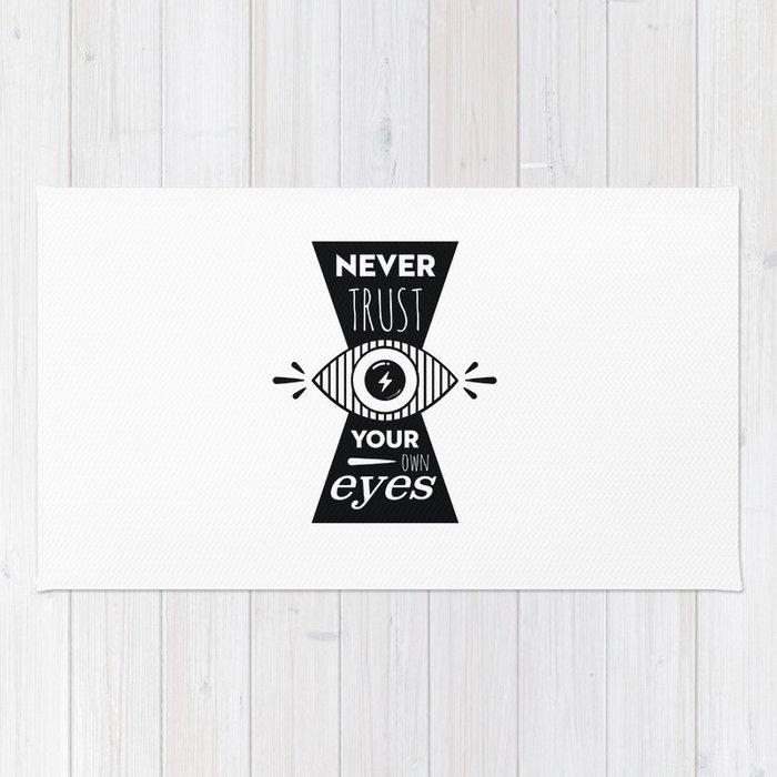 Graphic Poster - Never Trust your own eyes - Quatreplusquatre revisits Obey® Rug