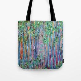 Teal Blue Abstract Forest Landscape, Forest Secrets, Fantasy Fairy Art Tote Bag