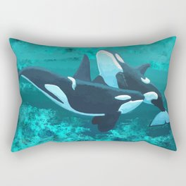 Aqua Whales Watercolor Rectangular Pillow