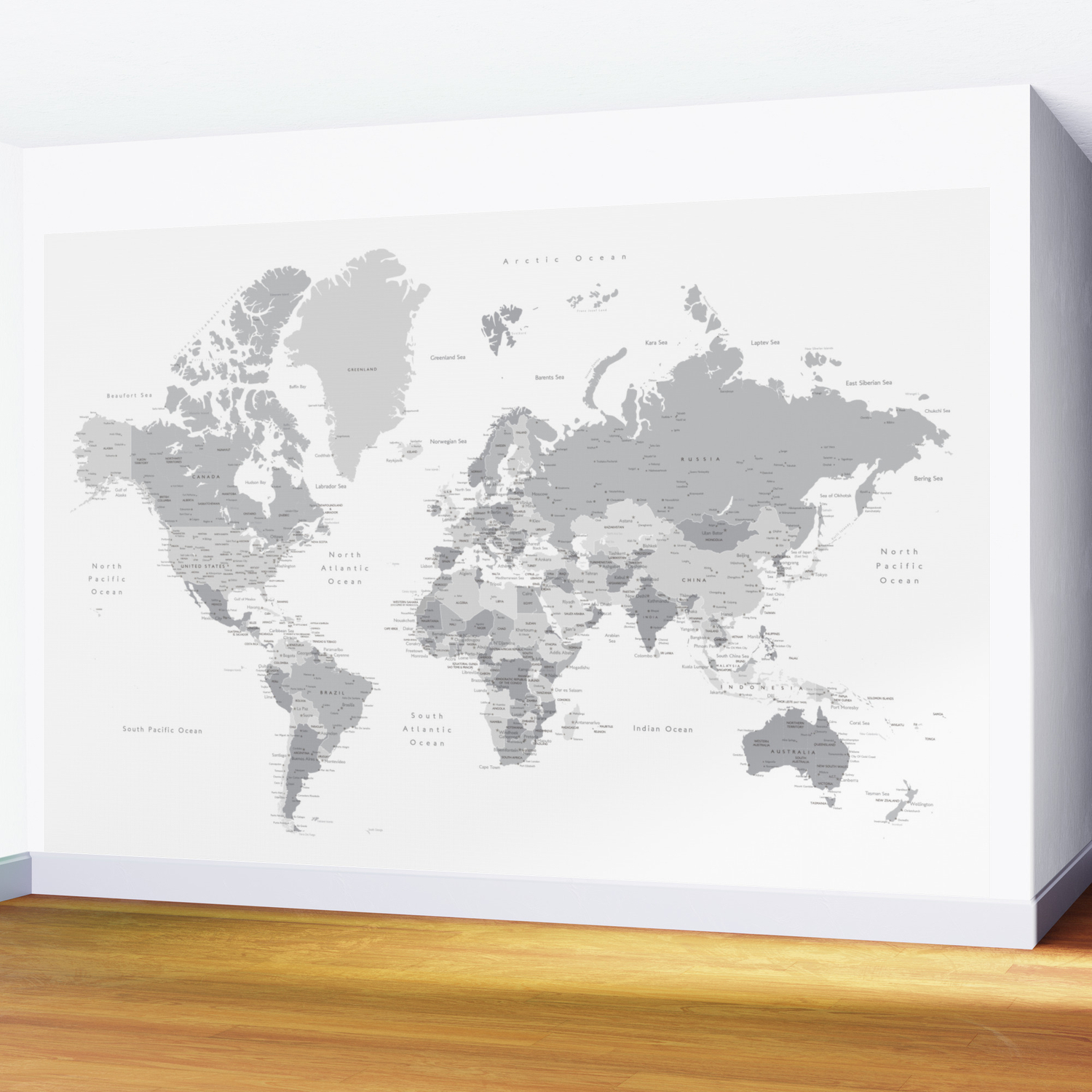 Picture of: Gray World Map With Cities States And Capitals In The City Wall Mural By Blursbyaishop Society6