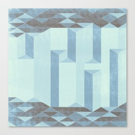 Dusty Triangle columns - blue ocean Canvas Print
