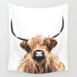 Highland Cow Portrait Wall Tapestry