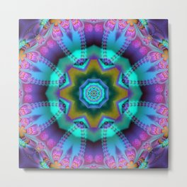 Romantic kaleidoscope with roses and patterns Metal Print