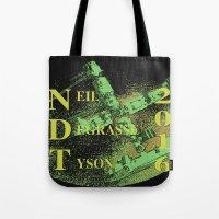 neil gaiman Tote Bags featuring Neil Degrasse Tyson 2016 Vintage by Abram Freitas