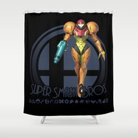super smash bros Shower Curtains featuring Samus - Super Smash Bros. by Donkey Inferno