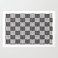 Hob Nob Black White Quarters Art Print