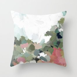 Green Mint Pink Blush Abstract Nature Art Painting Throw Pillow