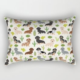 Dachshund cactus southwest dog breed gifts must have doxie dachsies Rectangular Pillow
