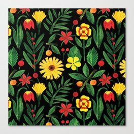 Black yellow orange green watercolor tulips daisies pattern Canvas Print