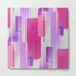 Shapes and Lines Abstract - Purple, Pink, Gray Metal Print