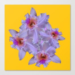 WHITE-PURPLE ORCHIDS YELLOW GARDEN Canvas Print