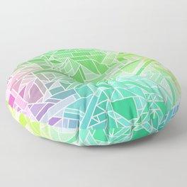 Bright Gradient (Violet Purple Lime Green Neon Yellow) Geometric Pattern Print Floor Pillow