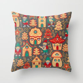 Fairy gnomes and magic houses.  Christmas trees, months and stars. Pattern in folk style. Throw Pillow