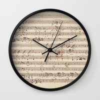 mozart Wall Clocks featuring Mozart by Le petit Archiviste