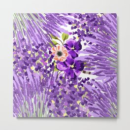 Lilac violet lavender lime green floral illustration Metal Print