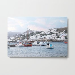 Sailboats on Santorini Metal Print