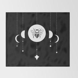 Bee & Moon Phases Throw Blanket