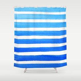 Blue Watercolor Stripes Shower Curtain