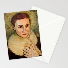 Woman in fur and lace gloves Stationery Cards