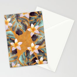 Tropical Monstera Leaf and Plumeria Flower Pattern Stationery Cards