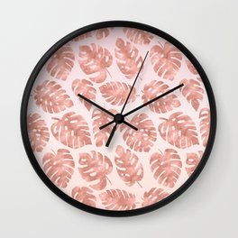 Monstera Leaves Pattern - Rose Gold Wall Clock
