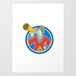 Circus Ringmaster Bullhorn Circle Cartoon Art Print