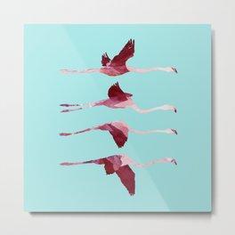Flying Flamingos in Blue collab. with @rodrigomffonseca Metal Print