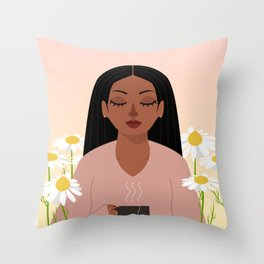 chamomile in april Throw Pillow