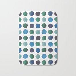 Green and Blue Watercolor Circles Pattern Bath Mat