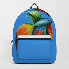 2 Colourful Guppies Fish on Blue Background. Backpack