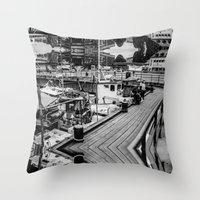 oslo Throw Pillows featuring Oslo Wharf by Vengeance, Madame.