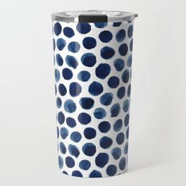 Large Indigo/Blue Watercolor Polka Dot Pattern Travel Mug