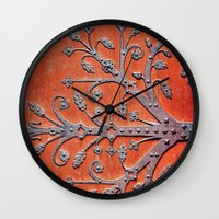 gothic Wall Clocks featuring Gothic Red Door by Joke Vermeer