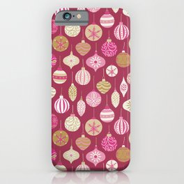 Christmas Vintage Ornaments Pink iPhone Case