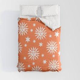 Mid Century Modern Sun and Star Pattern Orange Comforters