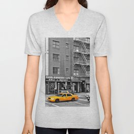 NYC - Yellow Cabs - Bagel Cafe Unisex V-Neck