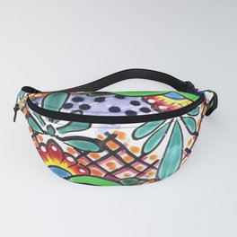 Colorful Talavera, Green Accent, Large, Mexican Tile Design Fanny Pack