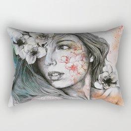 Mascara (expressive female portrait with freesias) Rectangular Pillow