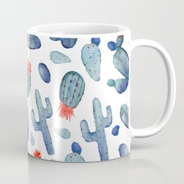 Cactus Watercolor Pattern |  Cacti in Red White & Blue Coffee Mug